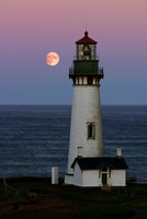 Full Moon Lighthouse - Yaquina Head Vertical